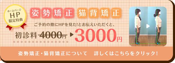 ホームページ特典で姿勢矯正・猫背矯正の初診料4000円が3000円に!